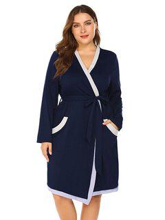 Contrast Trim Soft Robe,