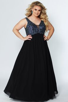 Starry Night Evening Dress Multi Color Sequin and Black Chiffon Plus Size Empire Gown,