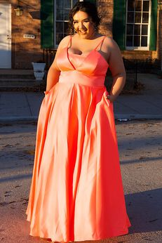 Neon Lights Plus Size Evening and Formal Dress with Pockets,