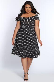 Vintage Vibes Polka Dot Short Plus Size Party Dress,