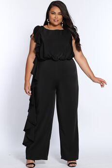 All About The Frills Plus Size Sleeveless Jumpsuit,