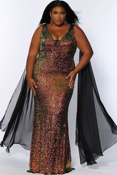 Aurora Plus Size Pageant Gown Floor Length Sequin Dress,