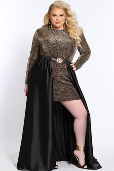 Untamed Plus Size Short Cocktail Dress with Long Sleeves and Optional Overskirt,