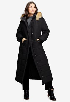 Maxi-Length Puffer Jacket with Hood,