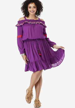 Embroidered Dress with Tassel Ties, PLUM PURPLE EMBROIDERY