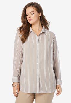 Georgette Big Shirt, KHAKI DOUBLE STRIPE