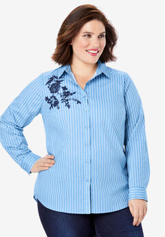 Embroidered Kate Shirt, BLUE FLOWER EMBROIDERY