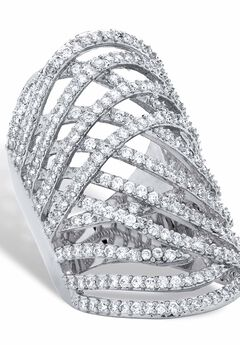 Platinum-Plated Cubic Zirconia Crossover Ring,