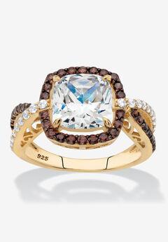 Gold & Silver Princess-Cut Cubic Zirconia Ring,