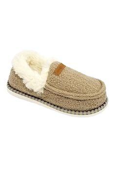Textured Knit Mocassin Slipper Slippers,