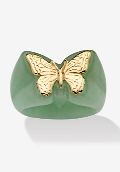 14K Yellow Gold Genuine Green Jade Butterfly Ring,
