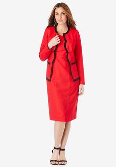 Contrast-Trim Jacket Dress,