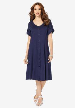 Button-Front Soft Knit Dress,