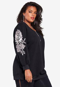 Embellished Sweatshirt Tunic,