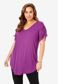Ruched-Sleeve Ultra Femme Tunic, PURPLE MAGENTA