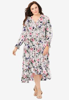 V-Neck Tiered Maxi Dress in Crinkle Chiffon,