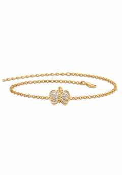 """Gold-Plated Filigree Butterfly Two-Tone 9' Ankle Bracelet 9"""" Plus Extender,"""