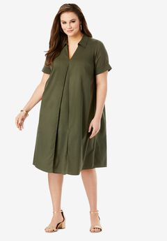 Collared Swing Dress, DARK OLIVE GREEN