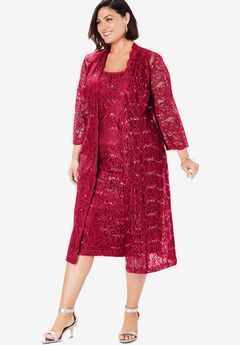 Lace & Sequin Jacket Dress Set, CLASSIC RED