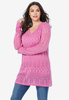 Hooded Crochet Pullover,