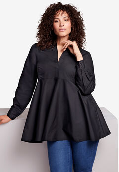 Poplin Fit-And-Flare Tunic,