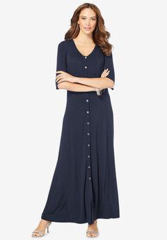 Button Front Maxi Dress,