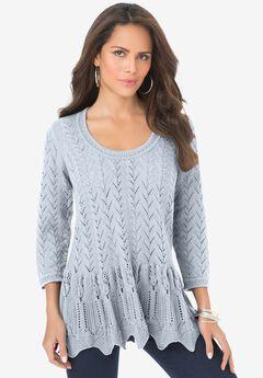 Sonia Peplum Crochet Sweater,
