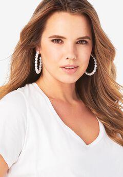 Pearl Hoop Earrings,