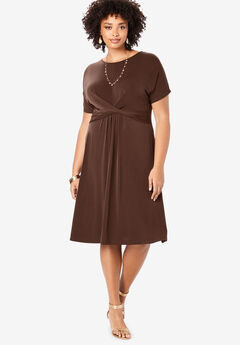 Ultrasmooth® Twist-Front Dress, RICH BROWN