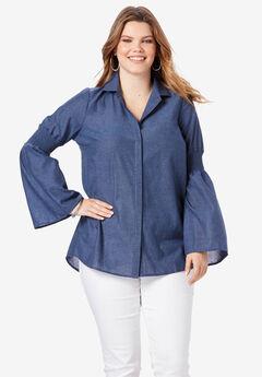 Bell-Sleeve Chambray Shirt, DARK WASH