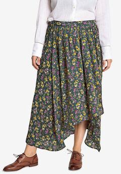 Wrap-Front High-Low Skirt Castaluna , CYPRESS GREEN FLORAL