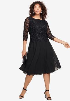 Embellished Lace & Chiffon Dress,