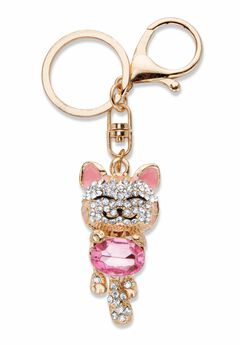 Goldtone Oval Shaped Pink Crystal and White Crystal Accents Cat Key Ring,