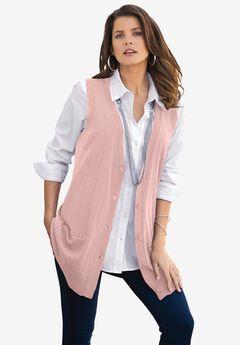 Fine Gauge Drop Needle Sweater Vest,