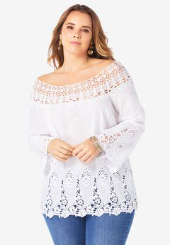 Bell-Sleeve Embroidered Lace Tunic,
