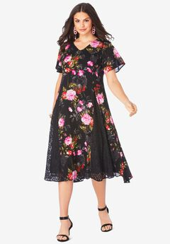 Lace-Inset Crinkle Dress,