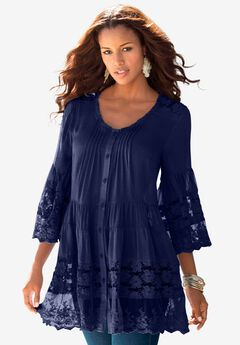 Illusion Lace Big Shirt.,
