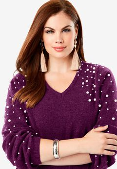 Embellished Pullover Sweater with Blouson Sleeves, DARK BERRY