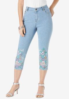 Floral Print Straight-Leg Capri Jean,