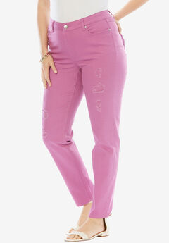 Distressed Twill Jeans , PRETTY ORCHID