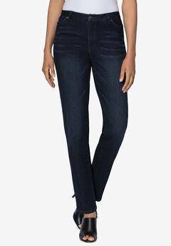 Straight-Leg Jean with Invisible Stretch® by Denim 24/7®, DARK WASH