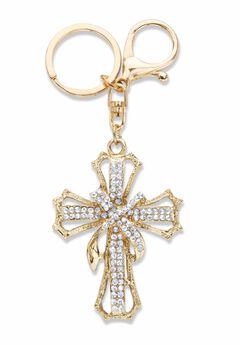 Goldtone Round Crystal Shrouded Cross Key Ring,