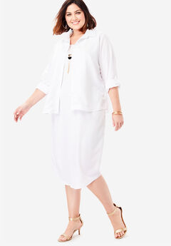 Three-Quarter Sleeve Jacket Dress Set with Button Front, WHITE