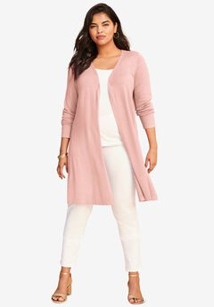 Fine Gauge Convertible Tie-Front Cardigan, SOFT BLUSH