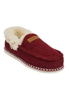 Faux Wool Felted Mocassin Slipper Slippers,