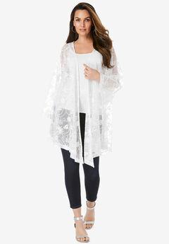 Long-Sleeve Lace Kimono,