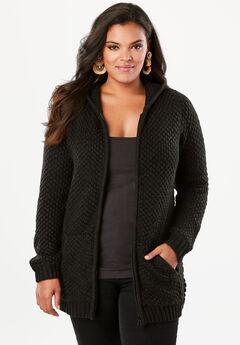 Tweed Thermal Hoodie Cardigan, BLACK