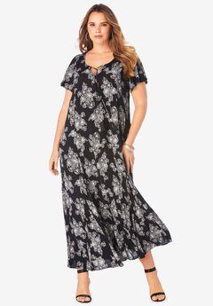 Crinkle Flare-Sleeve Maxi Dress,