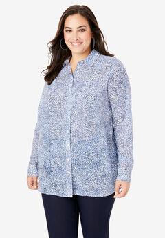 Georgette Big Shirt, BLUE CHEETAH