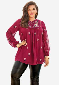 Embroidered Peasant Tunic, BERRY EMBROIDERED